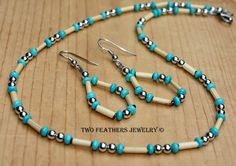Beautiful Turquoise and natural Bamboo necklace and earrings! I created both pieces with gorgeous chalk turquoise beads, natural bamboo tubes,