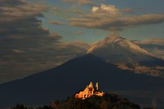 """In the morning"" by Cristobal Garciaferro Rubio   The Great Pyramid of Cholula and the Popocatépetl volcano in the background."