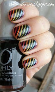 Rainbow stripes Nail art