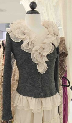 Women's Grey Ruffle Sweater Preorder