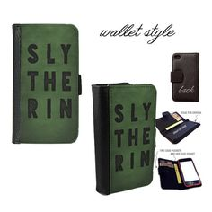 iPhone and Galaxy leather wallet case - Harry Potter Slytherin House Pride Green Block