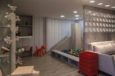 Brinquedoteca e Parquinho Infantil - Jaqueline Siebert. A piscina de bolinhas não deixa dúvidas: trata-se de um espaço dedicado às crianças. Mas a base é neutra e contemporânea, com mobiliário em MDF e cobogós que setorizam os 33m². (Daniel Sorrentino/CASACOR)