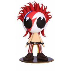 Boneco David Bowie na versão glam rock do seu alter ego Ziggy Stardust. Esculpido em massa de biscuit, isopor, com estrutura interna em arame galvanizado e base acrílica para apoio.