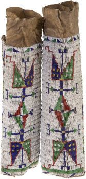 American Indian Art:Beadwork and Quillwork, A PAIR OF SIOUX WOMAN'S BEADED HIDE…