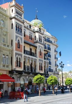 Buildings in Constitución Avenue. Modernist style, S.XIX-XX, Seville, Spain