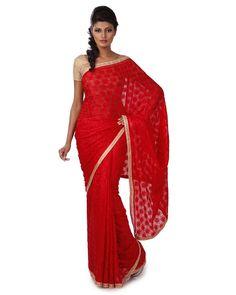 Saree in Phulkari on faux chiffon with tissue border