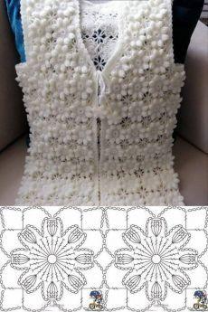 Crochet Collar Pattern, Gilet Crochet, Crochet Square Patterns, Crochet Coat, Crochet Jacket, Crochet Diagram, Crochet Blouse, Thread Crochet, Crochet Motif