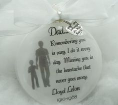 Memorial In Memory Ornament for Father, Remembering You is Easy, Grandfather, Brother, Free Personalization and Charm Memorial Ornaments, Memorial Gifts, Diy Christmas Ornaments, Christmas Balls, Homemade Christmas, Glass Ornaments, Holiday Crafts, Christmas Decorations, Memorial Ideas