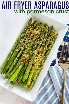 Air Fryer Asparagus with Parmesan Cheese - a simple vegetable side dish recipe with an easy parmesan herb crust made from cornmeal. Ready in less than 10 minutes, get all the tips you need to enjoy it simply roasted with olive oil, salt, and pepper, or add this gluten free topping to make it extra delicious! Best Vegetable Recipes, Homemade Vegetable Soups, Vegetable Side Dishes, Sweets Recipes, Keto Recipes, Kale Chip Recipes, Vegetable Casserole, Parmesan Crusted, Asparagus Recipe