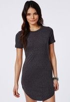 Missguided Jersey Curve Hem Shift Dress Grey Marl