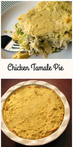 This Chicken Tamale Pie tastes just like tamales! With a traditional masa harina crust, shredded chicken, diced veggies, and salsa verde, it's much easier and quicker to make, full of flavor and the perfect #SundaySupper. #TamalePie #chicken #dinnerrecipes #winterrecipes #comfortfoods