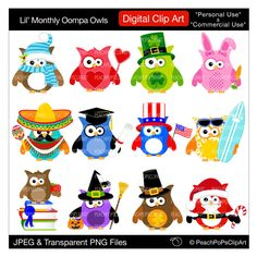 cute holiday owls clipart digital clipart Christmas Easter Cinco de Mayo Halloween - Lil Monthly Oompa Owls - Personal Commercial Use. $6.00, via Etsy.