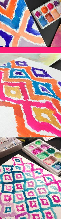 artist: unknown I love the patterns and the bright colors! I think that it would be super doable as a diy:) Cute Crafts, Crafts To Do, Arts And Crafts, Diy Crafts, Ikat Painting, Do It Yourself Inspiration, Home And Deco, Diy Canvas, Crafty Craft