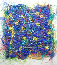 Created with fabrics, fibres, threads, free motion stitching and water soluble stabilizer