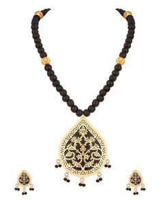 Tear Drop Floral Thewa Art, Black Bead Necklace Set