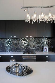 Backsplash and light fixture--metallic mosaic tiled splash back Tauranga - Eco Credentials™ Showhome Home Decor Kitchen, Interior Design Kitchen, New Kitchen, Home Kitchens, Deco Design, Küchen Design, House Design, Cuisines Design, Beautiful Kitchens