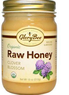 Pure Unfiltered Natural Organic Raw Honey Clover Blossom 18 oz (510 g) Jar  #glorybee