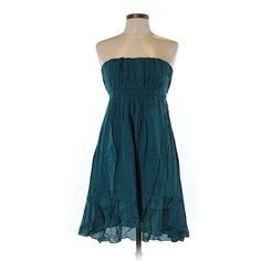 Pre-owned Poetry Clothing Casual Dress Size 12: Teal Women's Dresses ($29) ❤ liked on Polyvore featuring teal