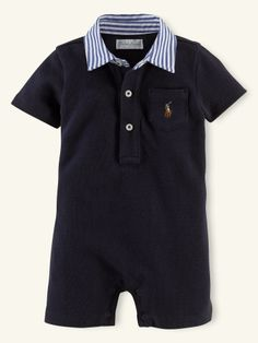 Striped-Collar Resort Shortall - Layette One-Pieces - RalphLauren.com
