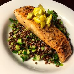 Seared Salmon & Preserved Lemon with Red Quinoa & Pea Shoots.Really good and made a beautiful looking dish. The preserved lemon was something new and added a lot of flavor. Would definitely make again.