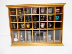 Tannery Lane 28 Slot Shot Glass Shadow Box with 26 Glasses Shelf or Wall Hanging #TanneryLaneCo..... Visit all of our online locations..... www.stores.ebay.com/ourfamilygeneralstore ..... www.bonanza.com/booths/Family_General_Store ..... www.facebook.com/OurFamilyGeneralStore
