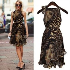 2014 Summer Autumn Ladies Casual Dress Empire Sleeveless Pleated Vintage Chffion Leopard Women Dresses Free Shipping LS799