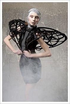 Boyor 'Genetically Modified Luxury' 2010 Dark Fashion, Fashion Photo, Fashion Art, High Fashion, Fashion Quotes, Womens Fashion, Fashion Design, Geometric Fashion, Body Adornment