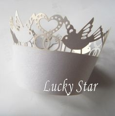 Free shipping 36Pcs White Dove laser cut  Lace Cupcake Wrapper baking wrapper candy wrapper for wedding birthday party favor US $14.89