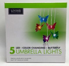 Butterfly 5 LED Umbrella Lights Multi Color Changing by Living Solutions #LivingSolutions