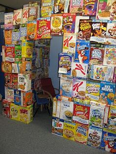 Cereal box fort. oh yeah baby!! this will be a fall project and in the winter comes the igloo! I dare say this could be just as awesome as our igloo!