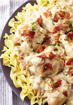 Slow-Cooker Smothered Chicken with Bacon & Onions – Sautéed onions and bacon bring their special savory flavors to this creamy slow-cooker chicken recipe that's perfect on top of noodles.