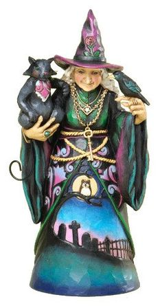 Jim Shore for Enesco Heartwood Creek Witch with Cat and Crow Figurine, 9.5-Inch