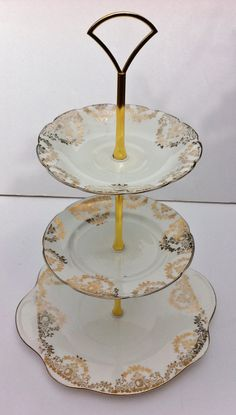 Upcycled Regina Princess English Three Tier Cake Stand