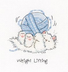 I really want this cross-stitch pattern  Margaret Sherry Collection Ltd   Weight Lifting  Found@casacenina.com