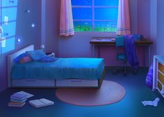 Room Art - Bright Idea - Home, Room, Furniture and Garden Design Ideas Cartoon Background, Animation Background, Art Background, Episode Interactive Backgrounds, Episode Backgrounds, Anime Scenery Wallpaper, Anime Backgrounds Wallpapers, Bedroom Night, Girls Bedroom