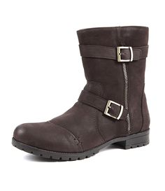 72162243ebde Biker Style Leather Buckle Boots in Earth Brown from Aspele.