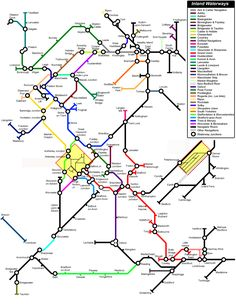 Canal map done like a tube map Barge Boat, Canal Barge, Railway Line Map, Canal Boat Narrowboat, Canal Boat Interior, London Tube Map, Narrowboat Interiors, Cruise Destinations, Boat Stuff