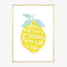 Digitaldruck - Poster, Kunstdruck mit Spruch: ...make Gin Tonic - ein…