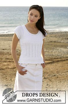Ravelry: 101-23 Top with lace pattern in Muskat free pattern by DROPS design