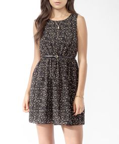 Ditsy Reader Print Dress w/ Belt