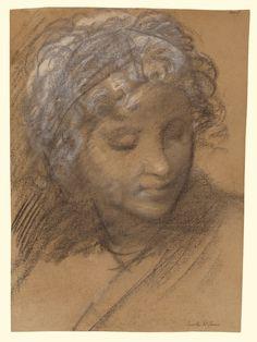 Head of a Female Figure (recto); Female Nude (verso); Giulio Cesare Procaccini (Italian (Bolognese), 1574 - 1625); Italy; about 1610; Black and white chalk; 33.5 x 23.8 cm (13 3/16 x 9 3/8 in.); 86.GB.20