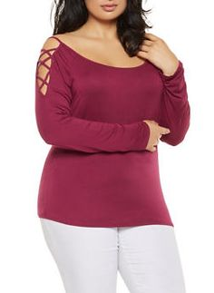 08b7f607eb1 Plus Size Caged Shoulder Top - 0915074287149 Plus Size Outfits