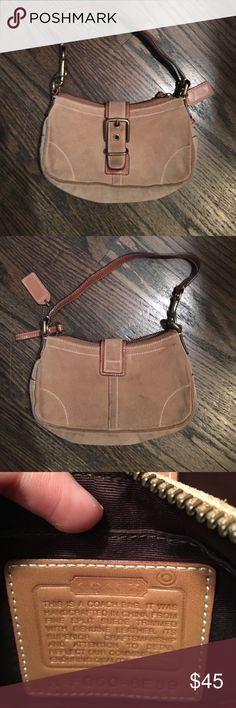 Suade Coach Purse Very cute! Great bag for a night out. Some dirt spots but nothing bad. Coach Bags Mini Bags