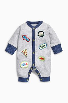 Buy Grey Badged Long Leg Rompers Two Pack from the Next UK online shop Baby Boy Outfits, Kids Outfits, Cute Outfits, Uk Fashion, Kids Fashion, Kids Wear, Children Wear, Baby Winter, Baby Boy Fashion