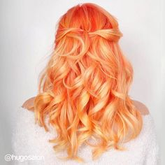 WEBSTA @ stevietheo - One of my all time faves. I could take pics of this girl's colors forever. @pulpriothair tangerine by @_sammie_ @hugosalon #hugosalon