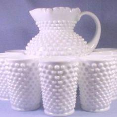 I love this white hobnail pitcher set