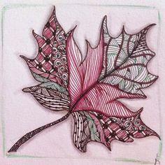 Fall leaf, Zentangle, Zentangle inspired, Zentangles, lineweaving, pen and ink, art