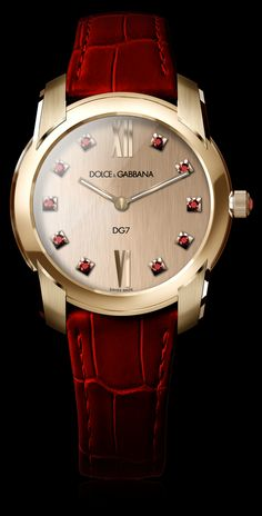 Women's Watch - Gold and Gems Rubies - D&G Watches Dolce & Gabbana Watches for Men and Women Armani Watches, Luxury Watches, Rolex Watches, Gold Watches Women, Watches For Men, Ladies Watches, Wrist Watches, Sport Watches, Stylish Watches
