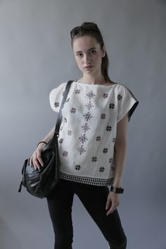 Sleeveless linen blouse, top, tunic with embroidery for women by GNatelier