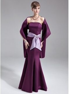 Wedding Party Dresses - $109.99 - Trumpet/Mermaid Strapless Floor-Length Satin Bridesmaid Dress With Sash Crystal Brooch Bow(s)  http://www.dressfirst.com/Trumpet-Mermaid-Strapless-Floor-Length-Satin-Bridesmaid-Dress-With-Sash-Crystal-Brooch-Bow-S-007000967-g967